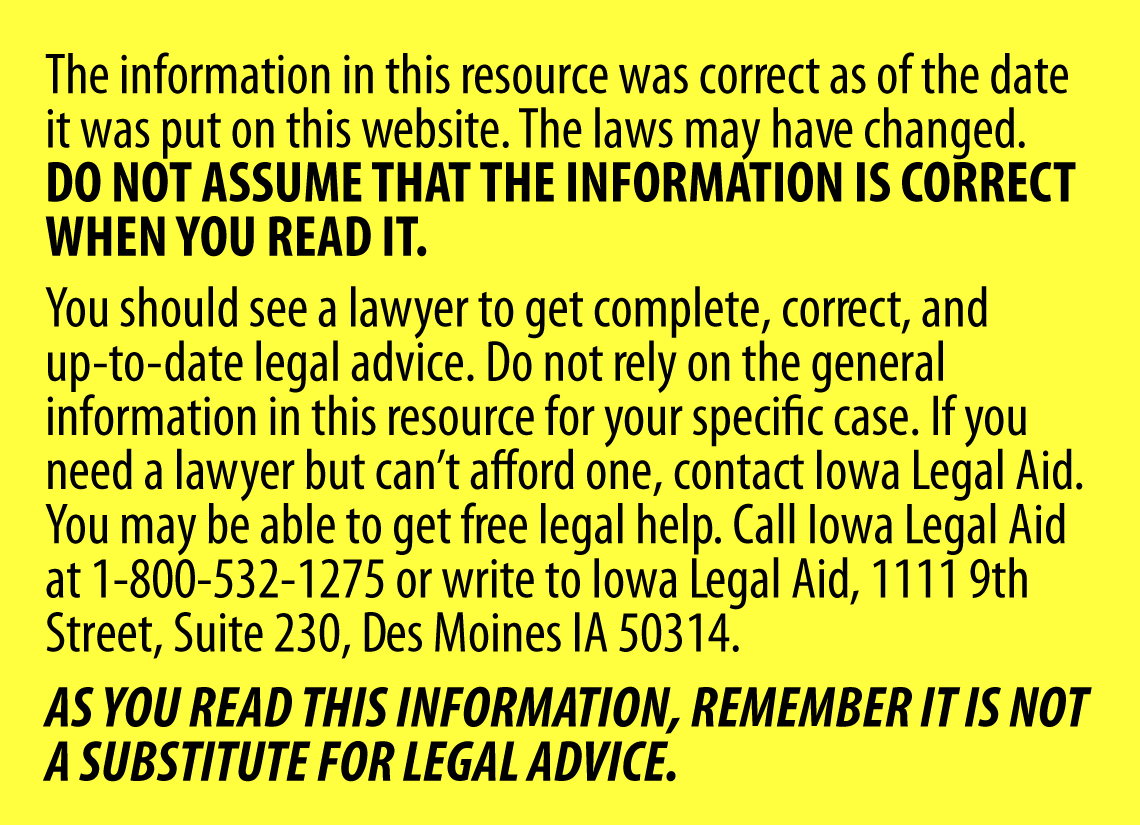 This information is not a substitue for legal advice.